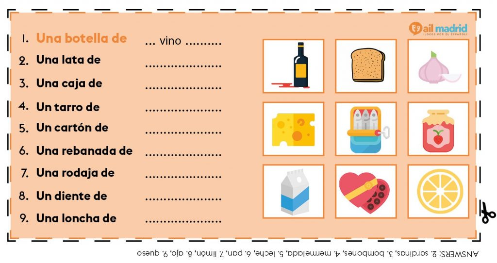 Containers and Portions in Spanish - Spanish Exercises